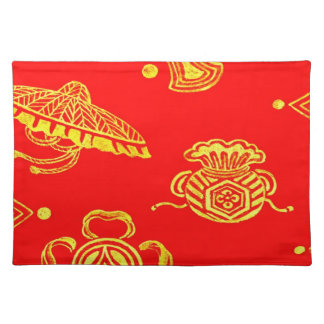Gold Brocade on Red Print 1825 Placemat