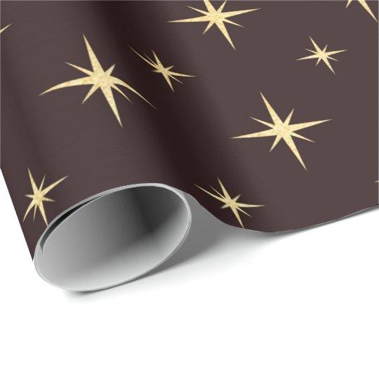 Gold Bronze Coffe Chocolate Stars Heraldic Wrapping Paper