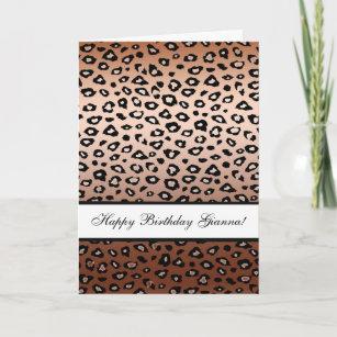 1st Birthday Card Leopard Print