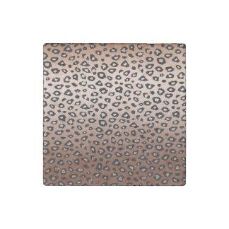 Gold Bronze Leopard Print Stone Magnet