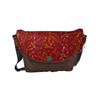 Gold Bronze Music Notes Pattern On Brick Red Bag Commuter Bags