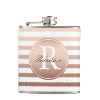 Gold Bronze Ombre Stripes Monogram Hip Flask
