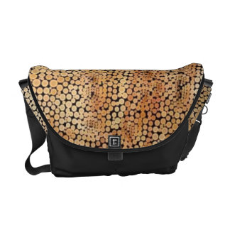 Gold Brown and Black Mosaic Bubble Pattern Courier Bags