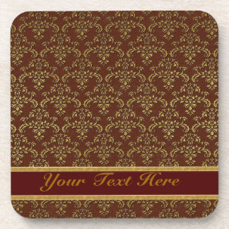 Gold & Brown Damask Pattern Beverage Coaster