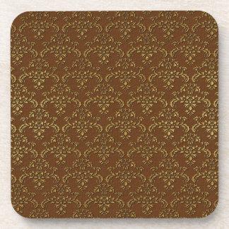 Gold & Brown Damask Pattern Coaster