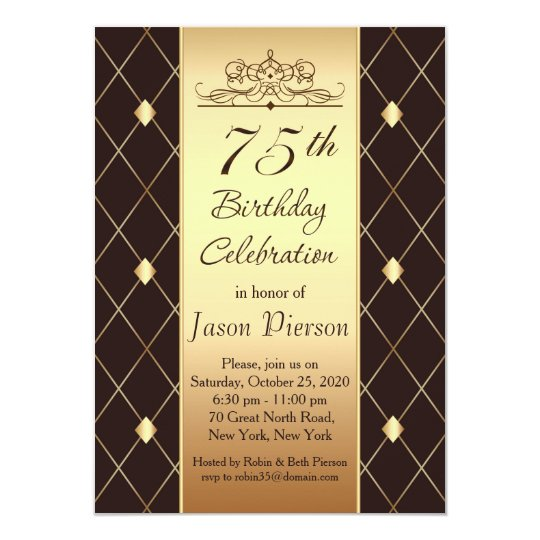 Gold brown diamond pattern 75th Birthday Party Card