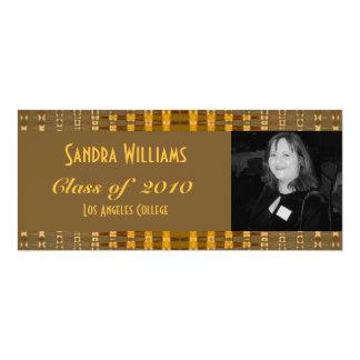 gold brown graduation 10 cm x 24 cm invitation card
