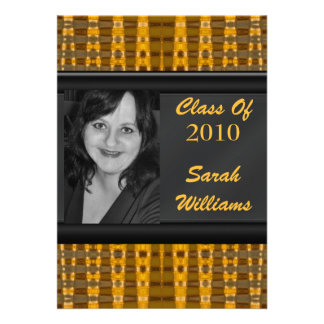 gold brown graduation personalized announcements