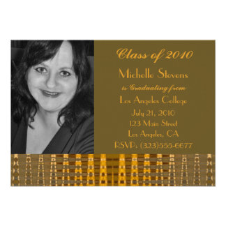 gold brown graduation personalized announcement
