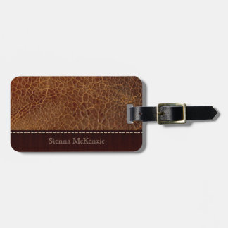 Gold brown Leather Look Bag Tag