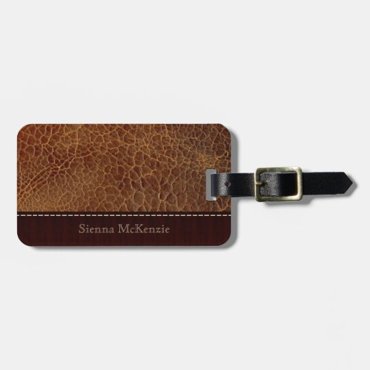 Gold brown Leather Look Luggage Tag