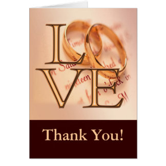 Gold/Brown LOVE, Wedding Bands Thank You Greeting Card