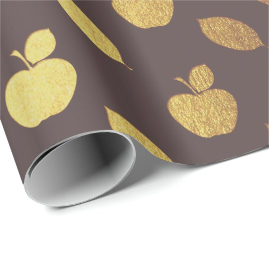 Gold Brown Maroon Metallic Apple Fruits Foil Wrapping