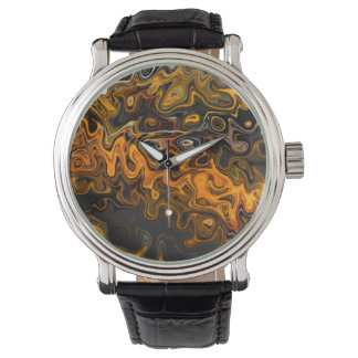 Gold Brown Swirls Design Abstract Contemporary Art Wrist Watches