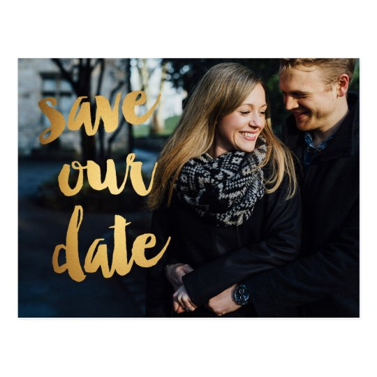 Gold Brush Sketchy Photo Save the Date Post