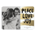 Gold Brush Strokes | Holiday Photo Card Personalized Invitations