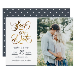 Gold brush typography photo save the date card