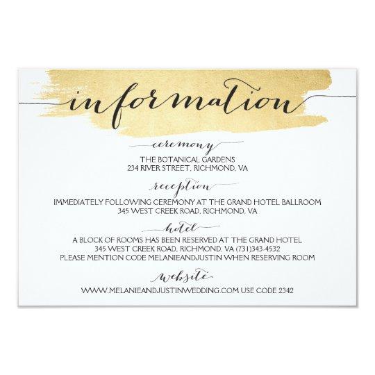 Gold Brushstrokes We Do Wedding Information Card