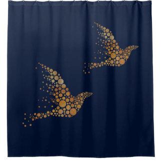 Gold Bubble Birds Shower Curtain