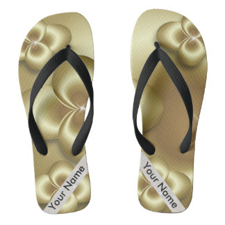 gold bubbles flip flops