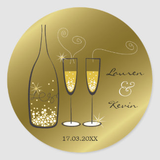 Gold Bubbly Champagne Cheers Chic Wedding Sticker