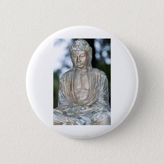 Gold Buddha Statue 6 Cm Round Badge