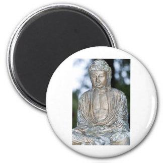 Gold Buddha Statue 6 Cm Round Magnet