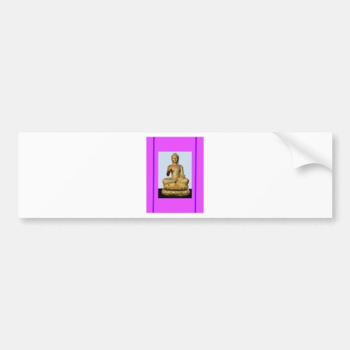 Gold Buddha Statue on Violet Bumper Stickers