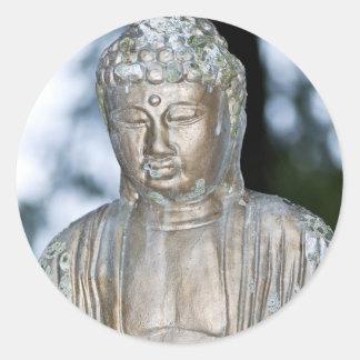 Gold Buddha Statue Round Sticker