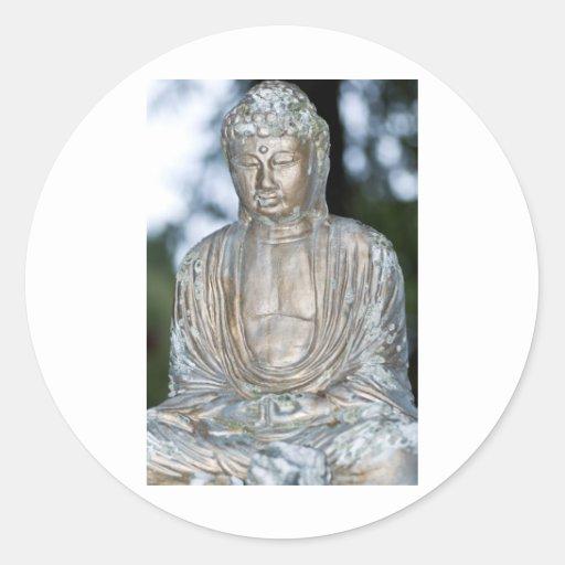 Gold Buddha Statue Round Stickers