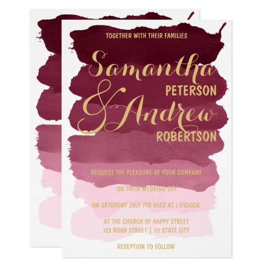 Gold burgundy brushstrok watercolor ombre Wedding Card