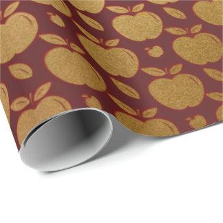 Gold Burgundy Maroon Metallic Apple Fruit  Crimson Wrapping Paper