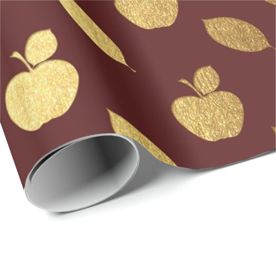 Gold Burgundy Maroon Metallic Apple Fruits Foil Wrapping