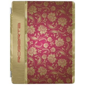 Gold & Burgundy Red Floral Damasks iPad Cover