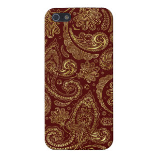 Gold & Burgundy Red Floral Paisley Pattern iPhone 5/5S Covers