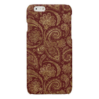 Gold & Burgundy Red Floral Paisley Pattern iPhone 6 Plus Case