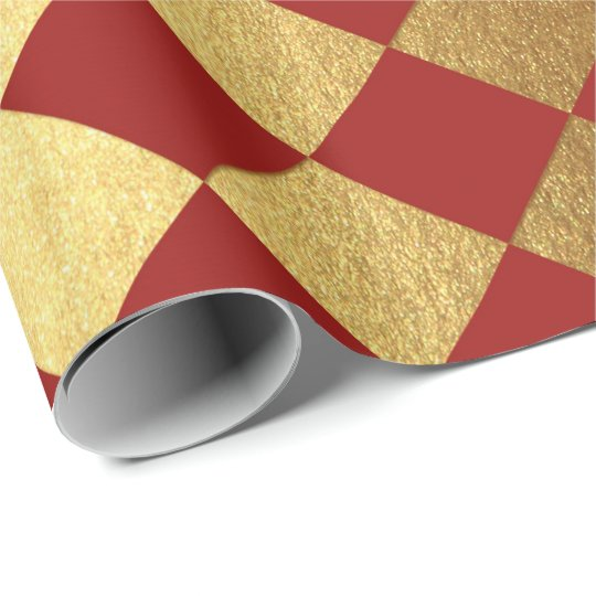Gold Burgundy Red Wine Metallic Square Chessboard Wrapping