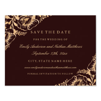 Gold Burgundy Vintage Floral Wedding Save The Date Card