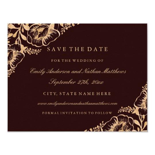 Gold Burgundy Vintage Floral Wedding Save The Date