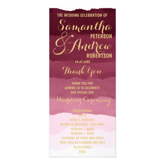 Gold burgundy watercolor ombre Wedding Program Rack Card