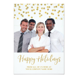 Gold Business Christmas Photo Card Confetti