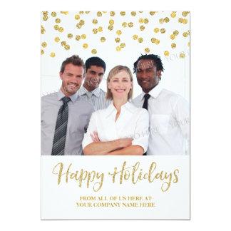 Gold Business Christmas Photo Card Confetti 13 Cm X 18 Cm Invitation Card