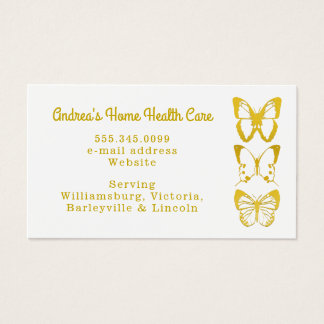 Gold Butterflies Home Health Care Business Cards