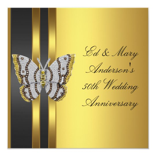 Gold Butterfly 50th Wedding Anniversary Party Card