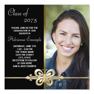 Gold Butterfly Black and Gold Photo Graduation 13 Cm X 13 Cm Square Invitation Card