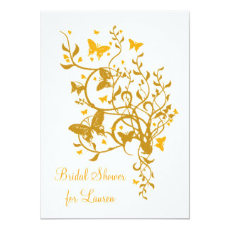 Gold Butterfly Bridal Shower Invitation
