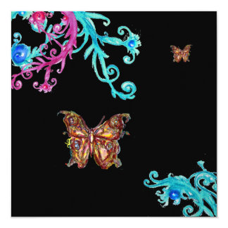 "GOLD BUTTERFLY , bright pink  blue black 5.25"" Square Invitation Card"