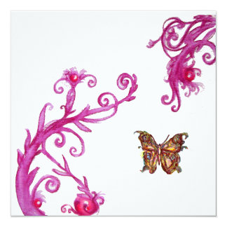 "GOLD BUTTERFLY , bright pink white 5.25"" Square Invitation Card"