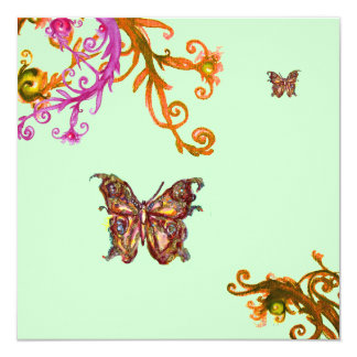 GOLD BUTTERFLY , bright pink yellow green 13 Cm X 13 Cm Square Invitation Card