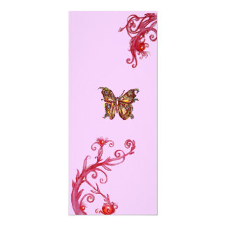 GOLD BUTTERFLY , bright red pink violet flourishes Personalized Invitation